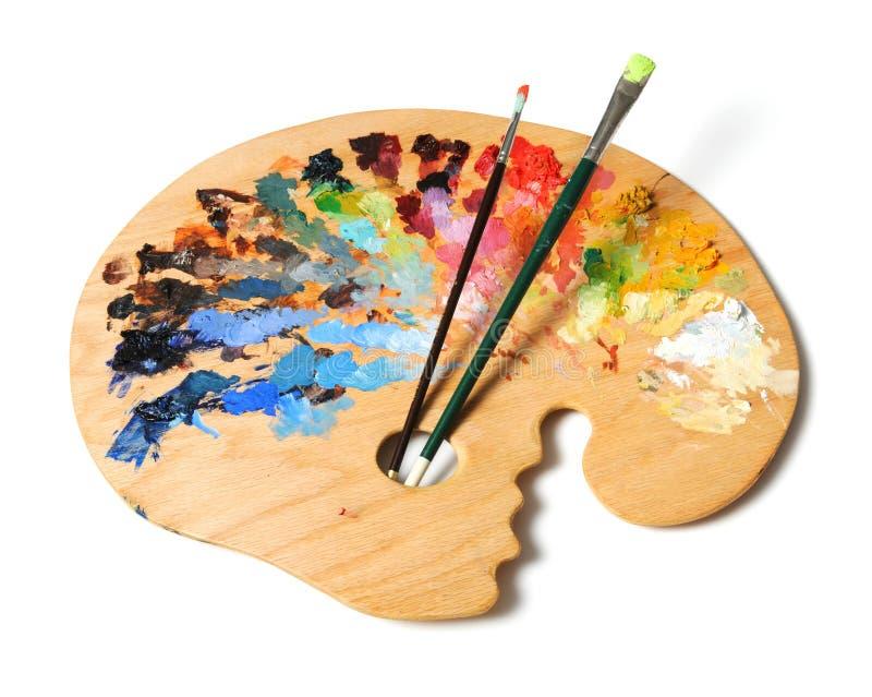 Palette und Pinsel des Künstlers lizenzfreies stockfoto
