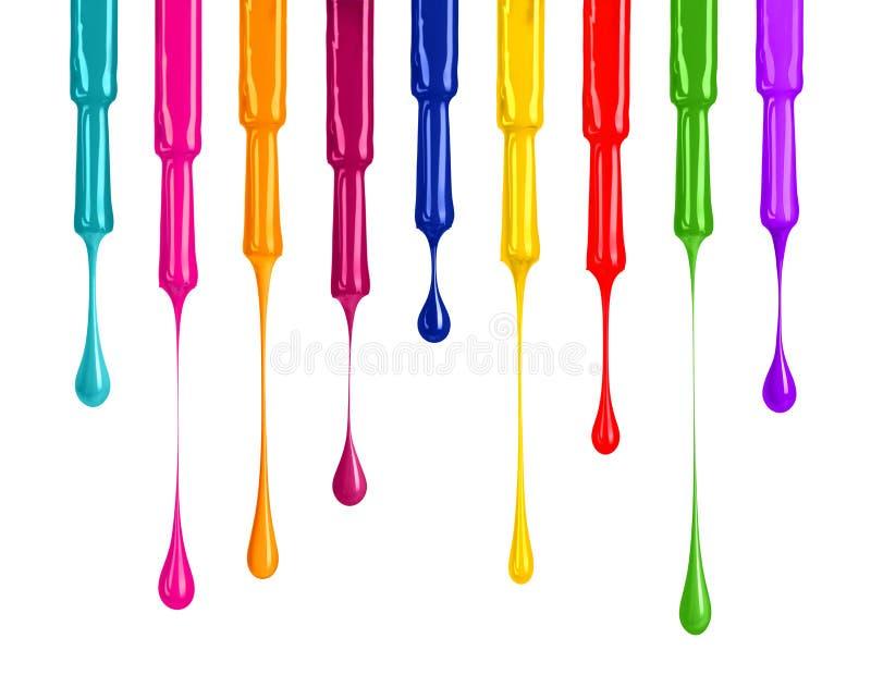Palette von farbigen Nagellacken mit dem Fallen fällt unten lizenzfreies stockfoto