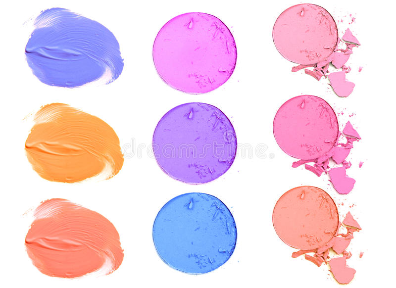 Paletten van de samenstellings de kleurrijke die oogschaduw op witte achtergrond worden geïsoleerd stock afbeeldingen