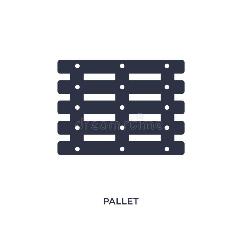 Palettenikone auf weißem Hintergrund Einfache Elementillustration von der Lieferung und vom logistischen Konzept stock abbildung