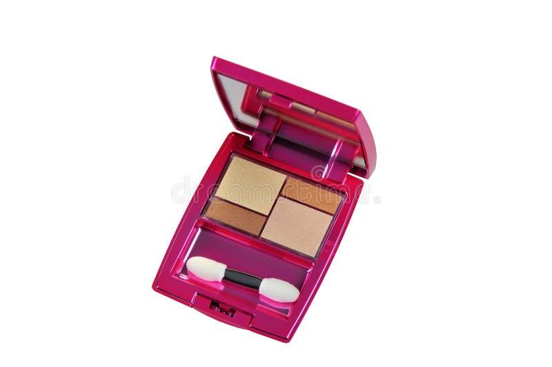 Palettes colorées de fard à paupières de maquillage d'isolement sur le fond blanc images libres de droits