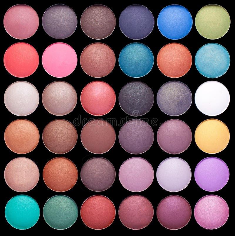 Palettes colorées de fard à paupières de renivellement photographie stock libre de droits