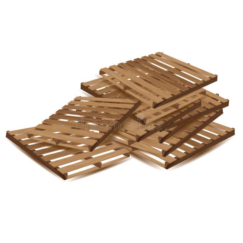 Palettes en bois à transporter et transport de fret d'isolement sur le fond blanc Palettes en bois dans la perspective illustration libre de droits