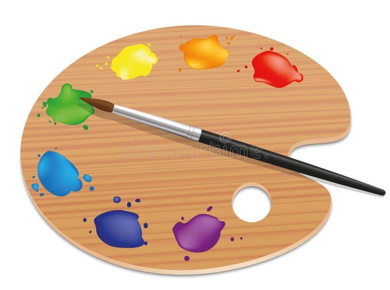 Palettkonstnärer som målar Wood brädefärger royaltyfri illustrationer