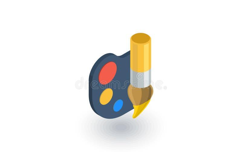 Palety i muśnięcia isometric płaska ikona 3d wektor ilustracji