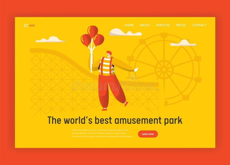 Palhaço Character Website Template Balão engraçado da terra arrendada do palhaço do carnaval que está no aniversário da montanha  ilustração do vetor