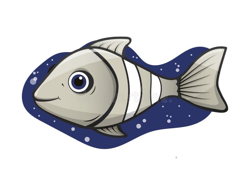 Palhaço cinzento alegre dos peixes do aquário com bolhas de ar ilustração royalty free