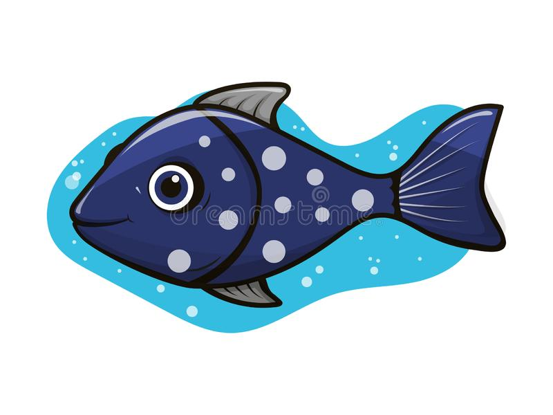 Palhaço cinzento-azul alegre dos peixes do aquário com bolhas de ar ilustração royalty free