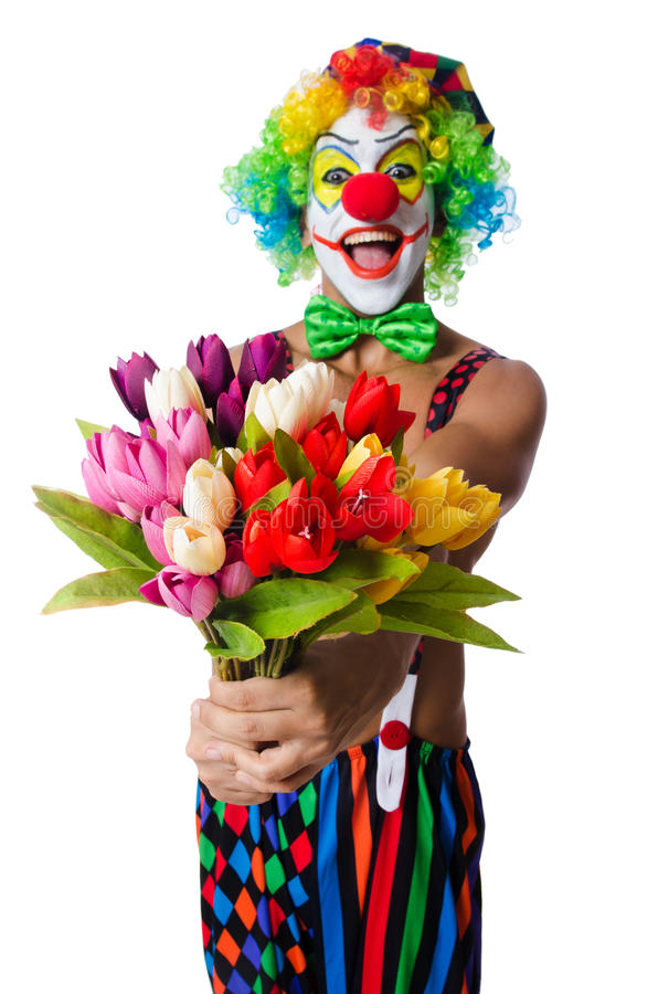 Palhaço com flores fotografia de stock