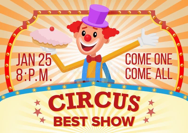 Palhaço de circo Banner Blank Vetora Mostra surpreendente de viagem do circo Anúncio dos desempenhos do festival do carnaval ilustração royalty free