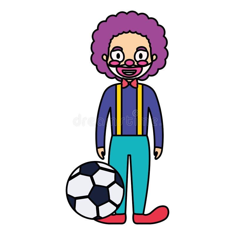 Palhaço de circo engraçado com caráter do balão do futebol ilustração royalty free