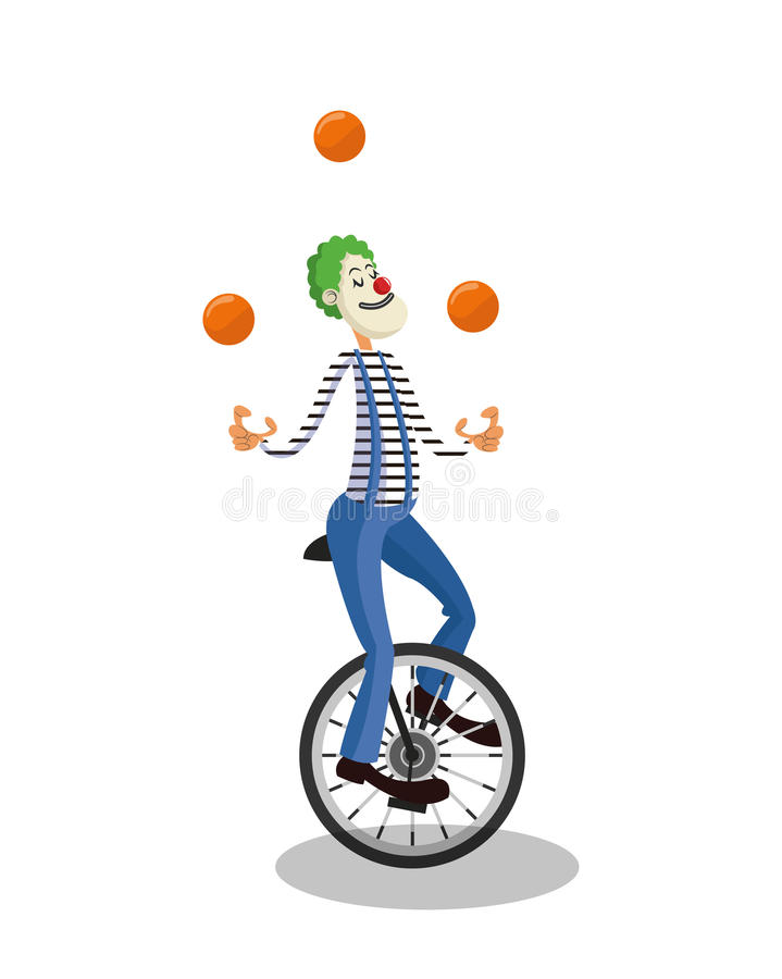 Palhaço do circo e do projeto do carnaval ilustração royalty free