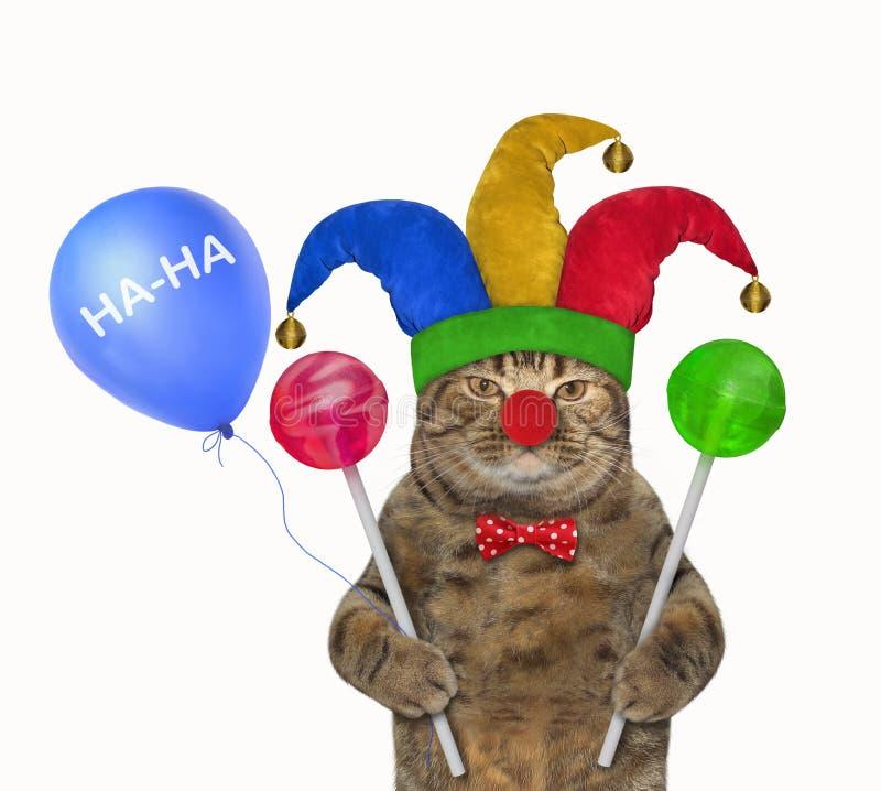 Palhaço do gato com pirulitos coloridos 2 imagens de stock