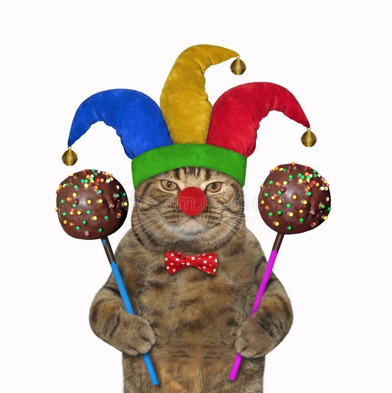 Palhaço do gato com PNF do bolo de chocolate imagens de stock