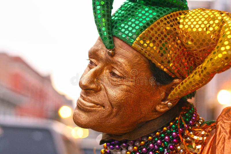 Palhaço do jester do carnaval em Nova Orleães foto de stock