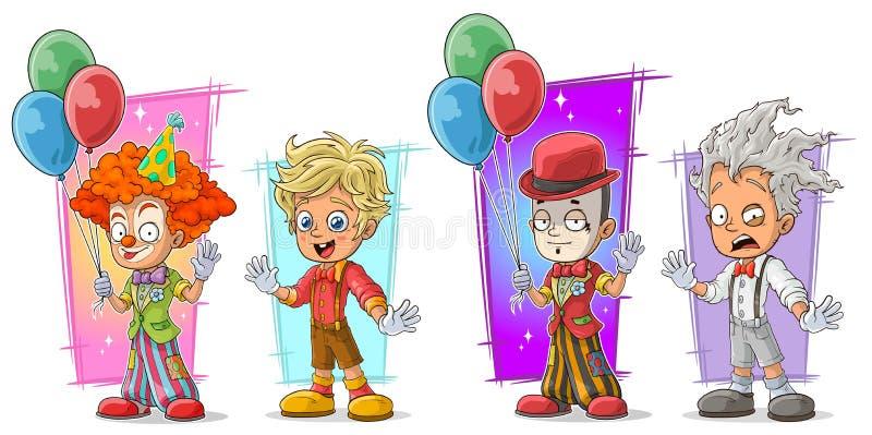 Palhaço dos desenhos animados com grupo do vetor do caráter do balão ilustração stock