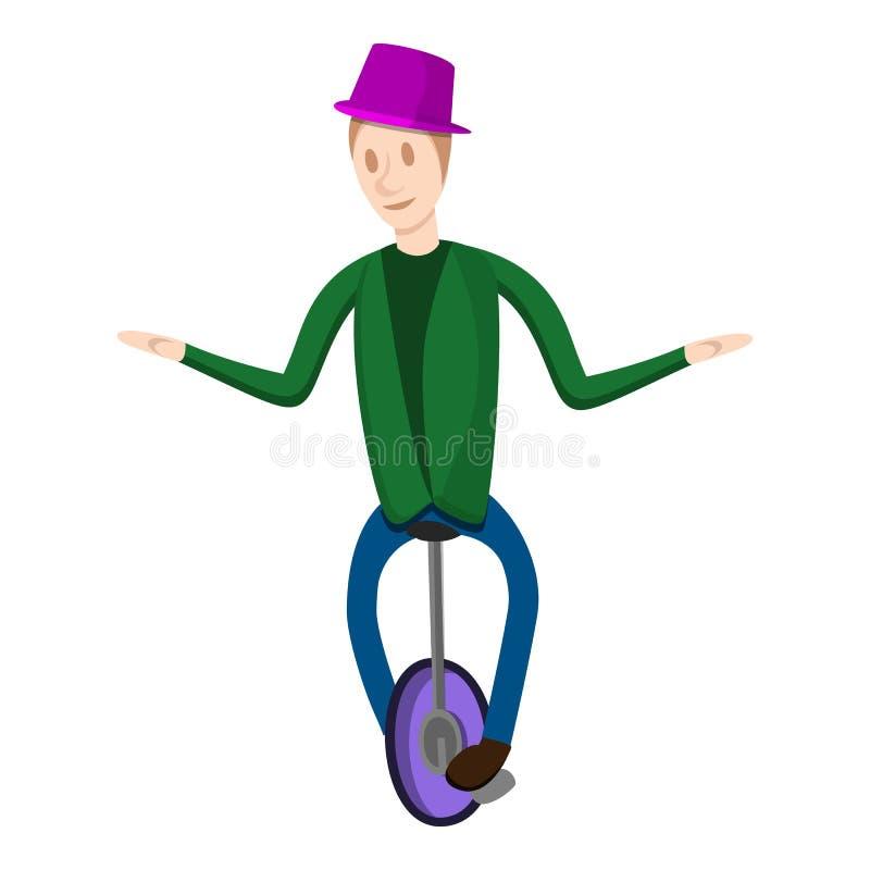 Palhaço em um ícone da bicicleta da roda, estilo dos desenhos animados ilustração do vetor