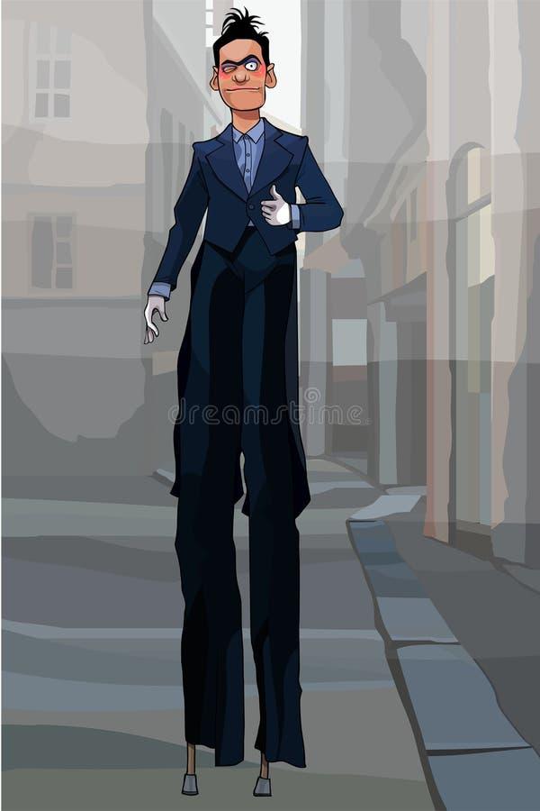 Palhaço masculino dos desenhos animados no terno preto nos pernas de pau que andam em torno da cidade ilustração royalty free