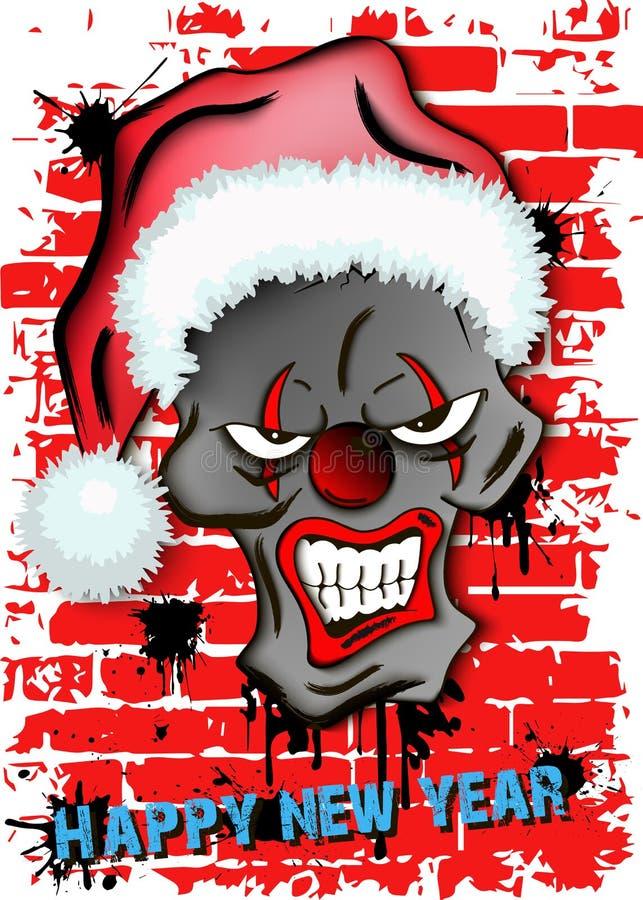 Palhaço mau assustador do crânio no chapéu de Santa ilustração stock