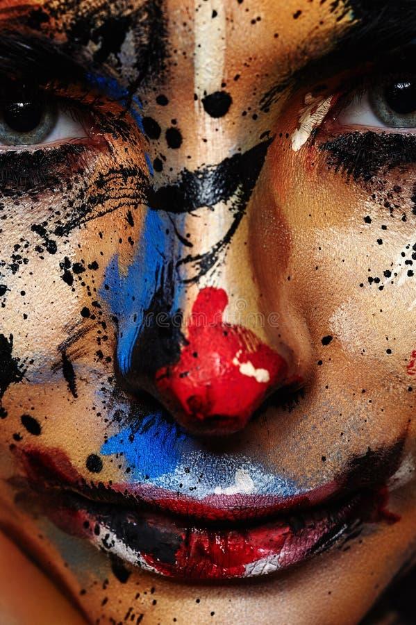 Palhaço mau Face Art para Dia das Bruxas imagens de stock royalty free