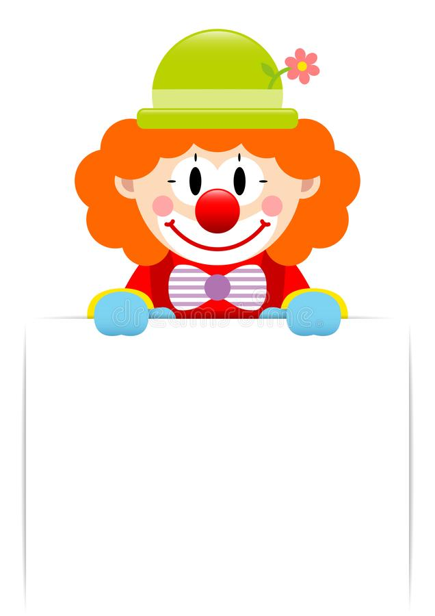 Palhaço With Orange Hair que guarda a etiqueta horizontal ilustração royalty free