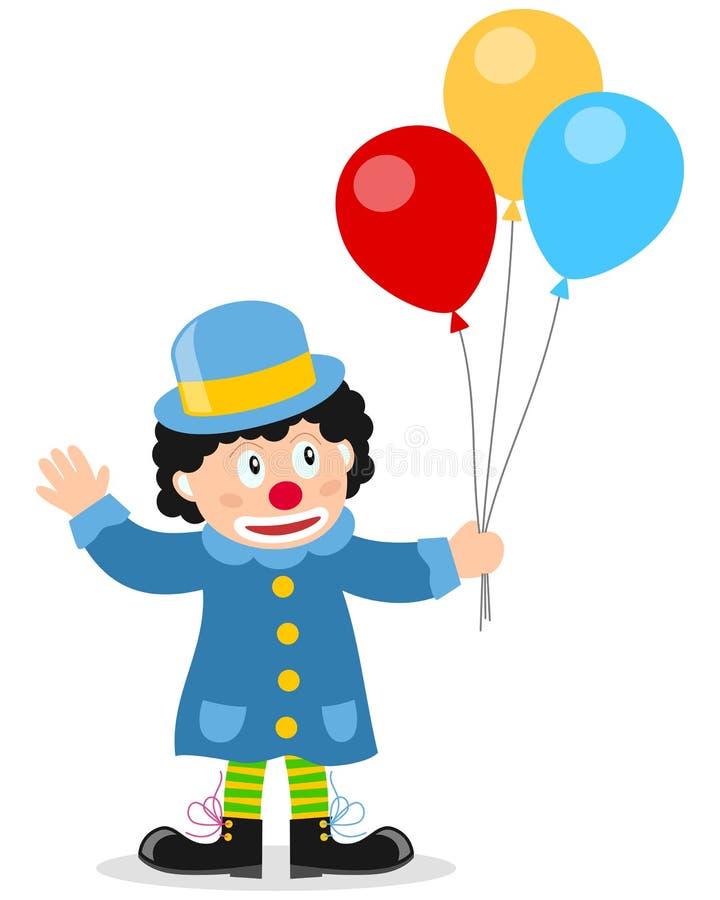 Palhaço pequeno com balões ilustração do vetor