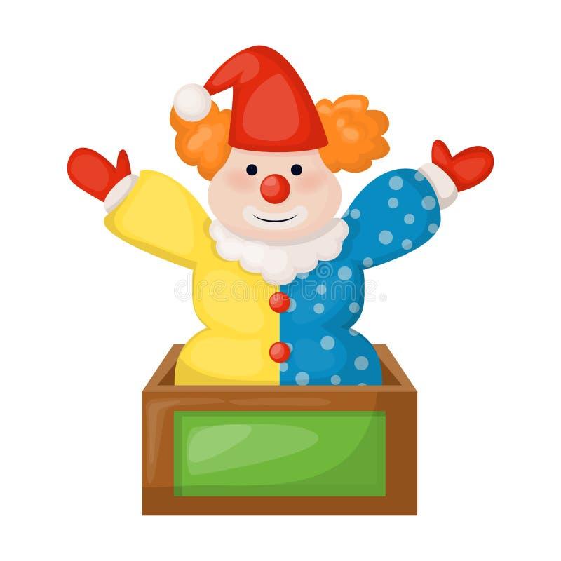 Palhaço que senta-se na ilustração do vetor da boneca do circo do sorriso da infância do divertimento da caixa do presente de ani ilustração stock
