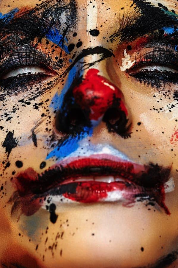 Palhaço Woman do horror com olhos brancos foto de stock royalty free