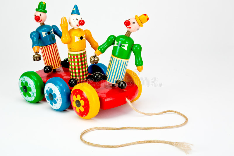 Palhaços em um brinquedo da tração. fotografia de stock