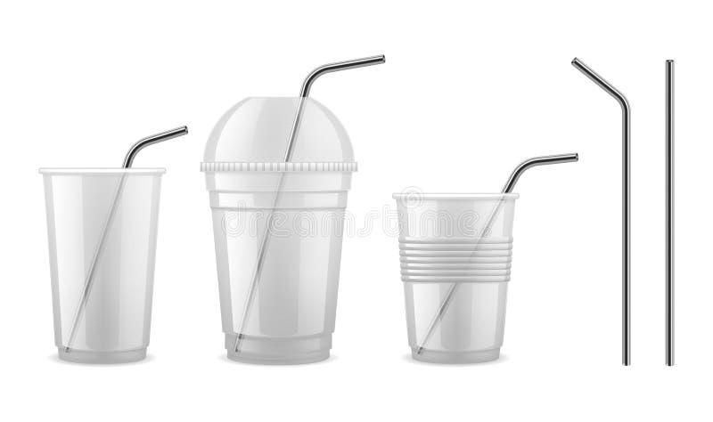 Palha bebendo do metal Grupo isolado do equipamento do cocktail da palha vetor de aço reusável ilustração do vetor