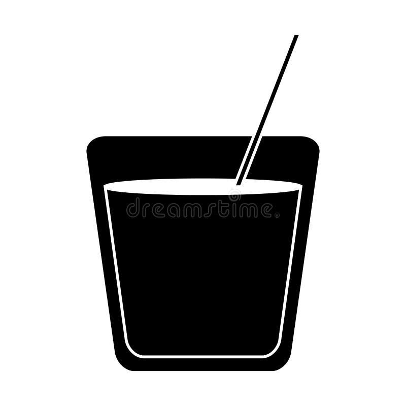 Palha de vidro da bebida do cocktail da silhueta ilustração stock