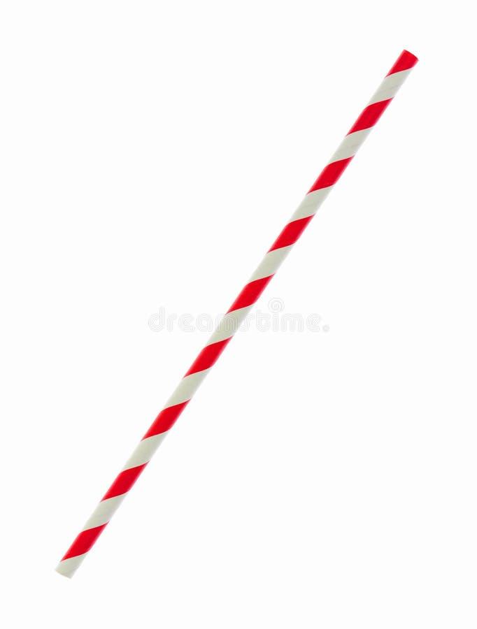 Palha vermelha do papel listrado isolada no branco imagens de stock royalty free