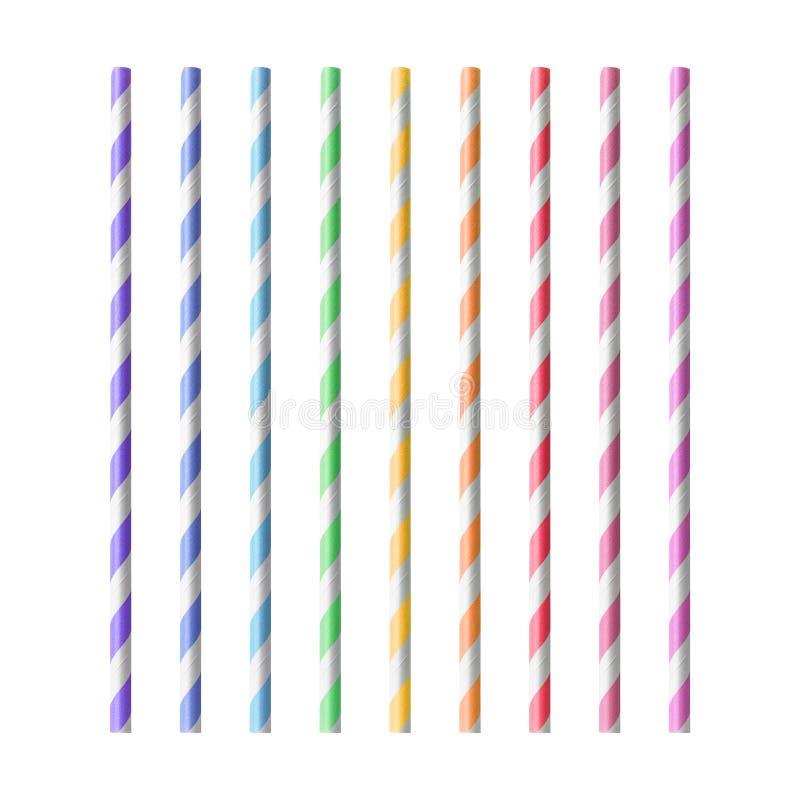 Palhas bebendo coloridas isoladas no fundo branco Tubo da bebida feito do material do papel Trajeto de grampeamento foto de stock