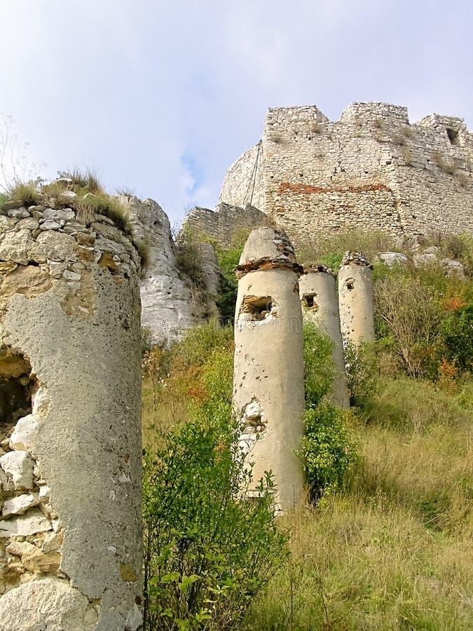 Paliçadas Eslováquia-externos da entrada do castelo de Spissky foto de stock royalty free