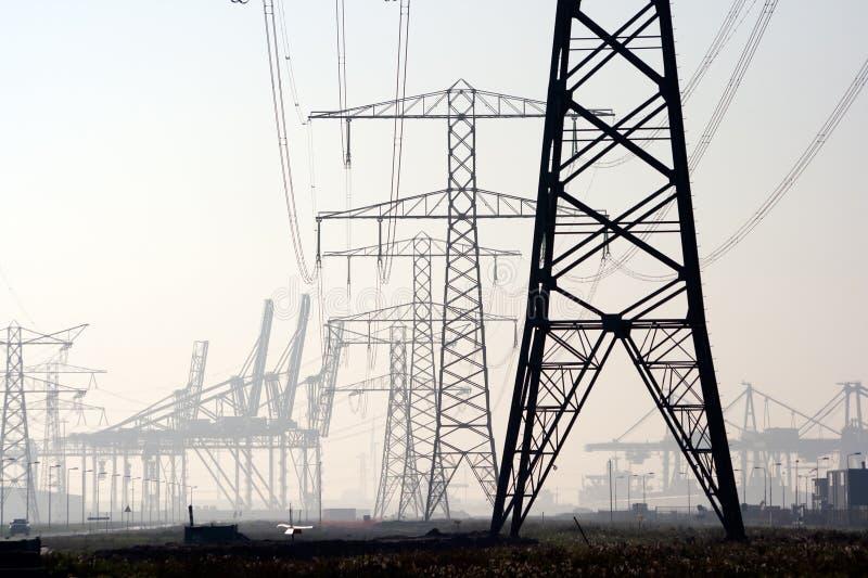 Pali di elettricità fotografia stock libera da diritti