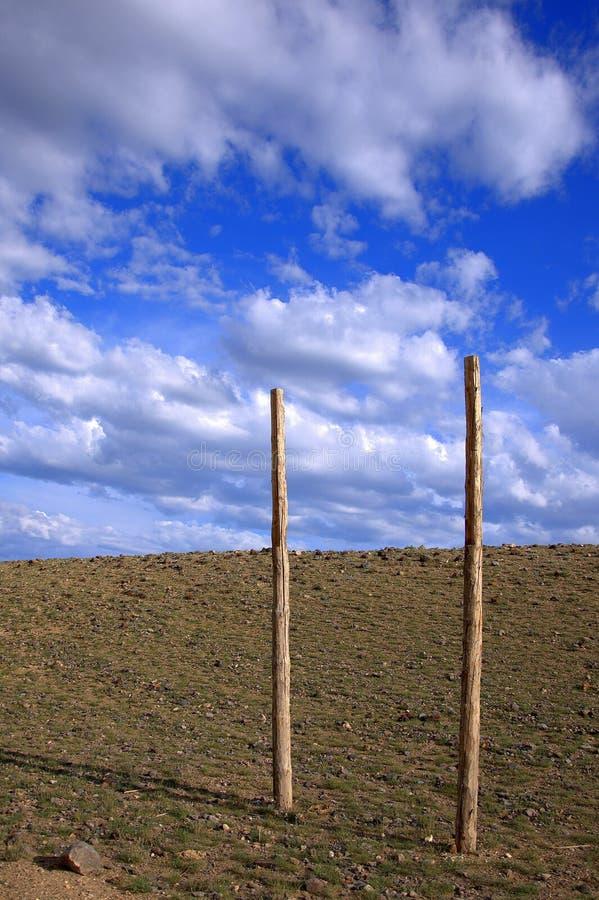 Pali di legno per i cavalli di sfruttamento fra la steppa fotografia stock