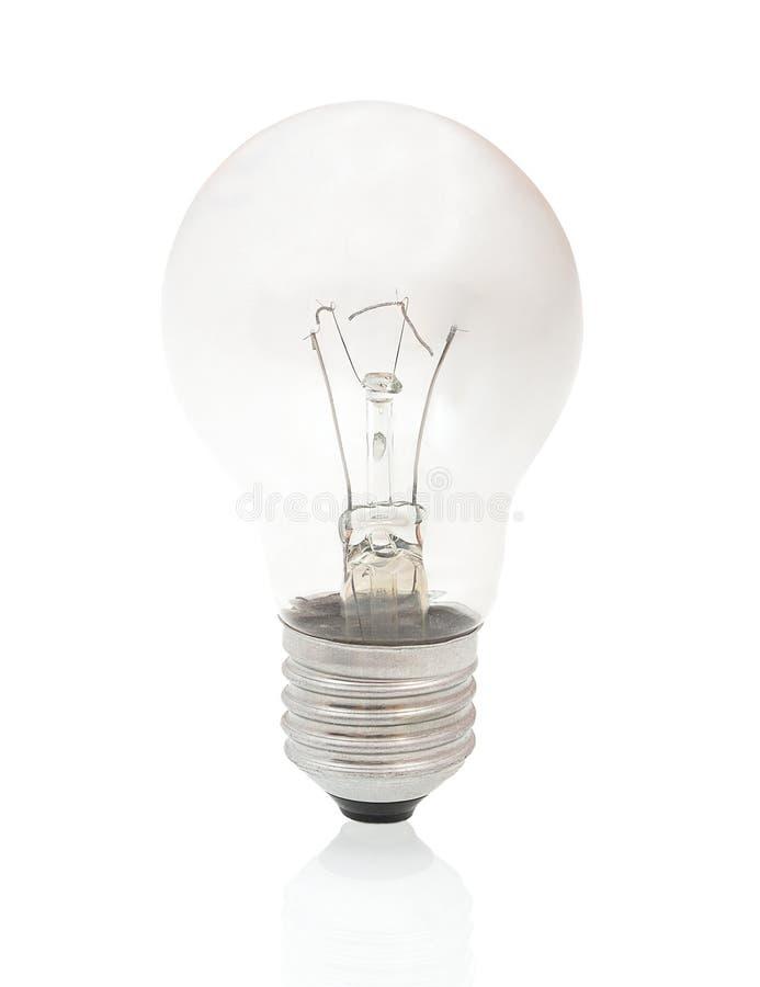 Pali out żarówkę odizolowywająca na białym tle z cienia odbiciem Paląca żarówka na białym tle zdjęcie stock