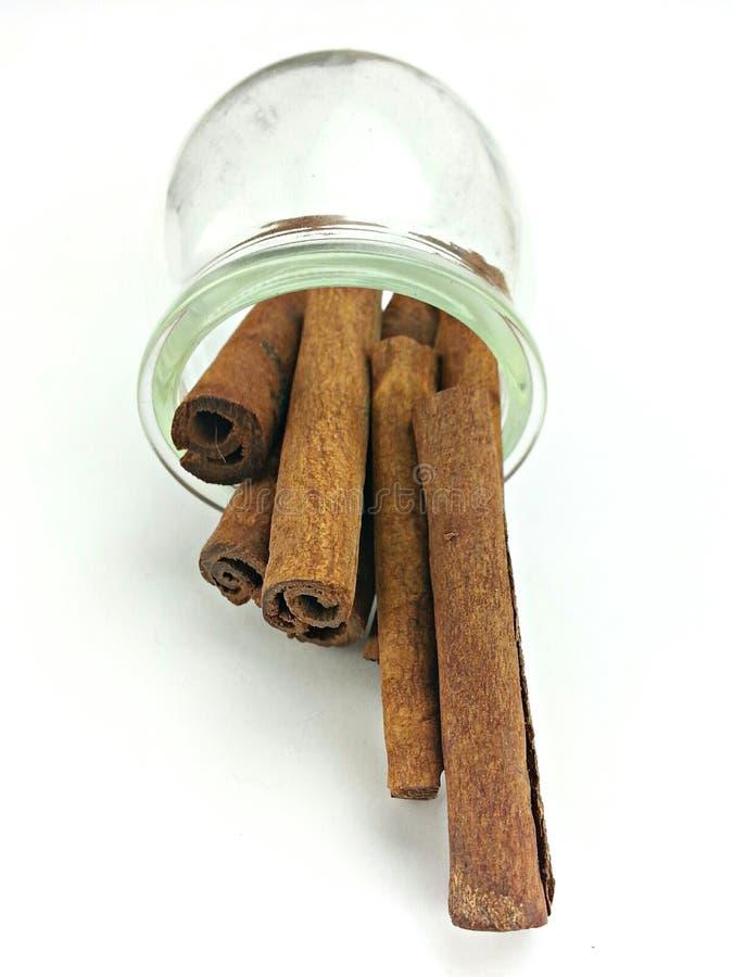Palillo de canela en una botella foto de archivo libre de regalías