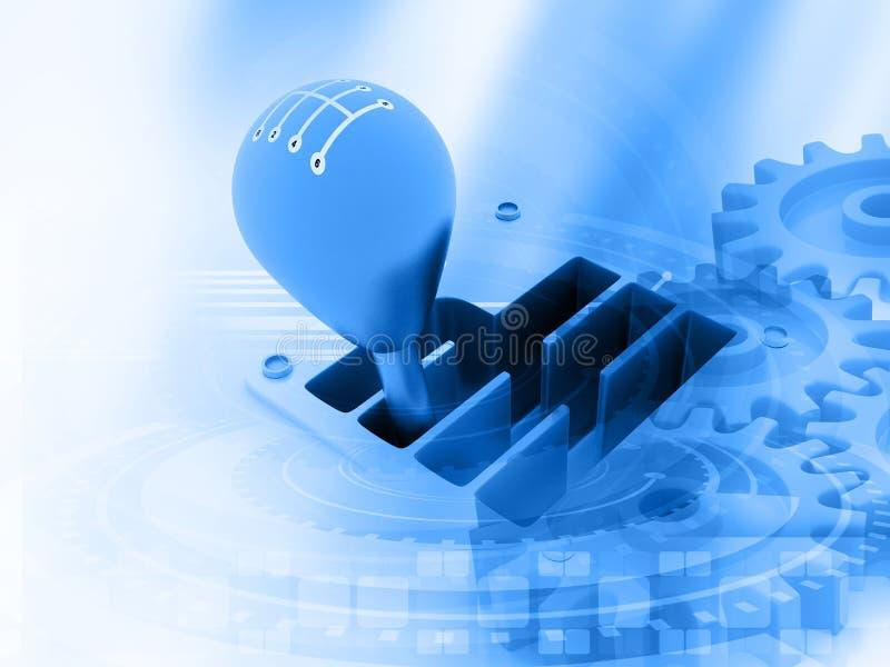 palillo de engranaje 3d en tecnología stock de ilustración