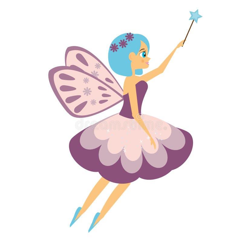Palillo de hadas de la magia del aleteo del vuelo hermoso Princesa del duende con la vara Estilo de la historieta ilustración del vector