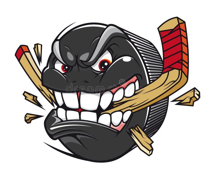 Palillo de hockey de la rotura del duende malicioso de hockey ilustración del vector