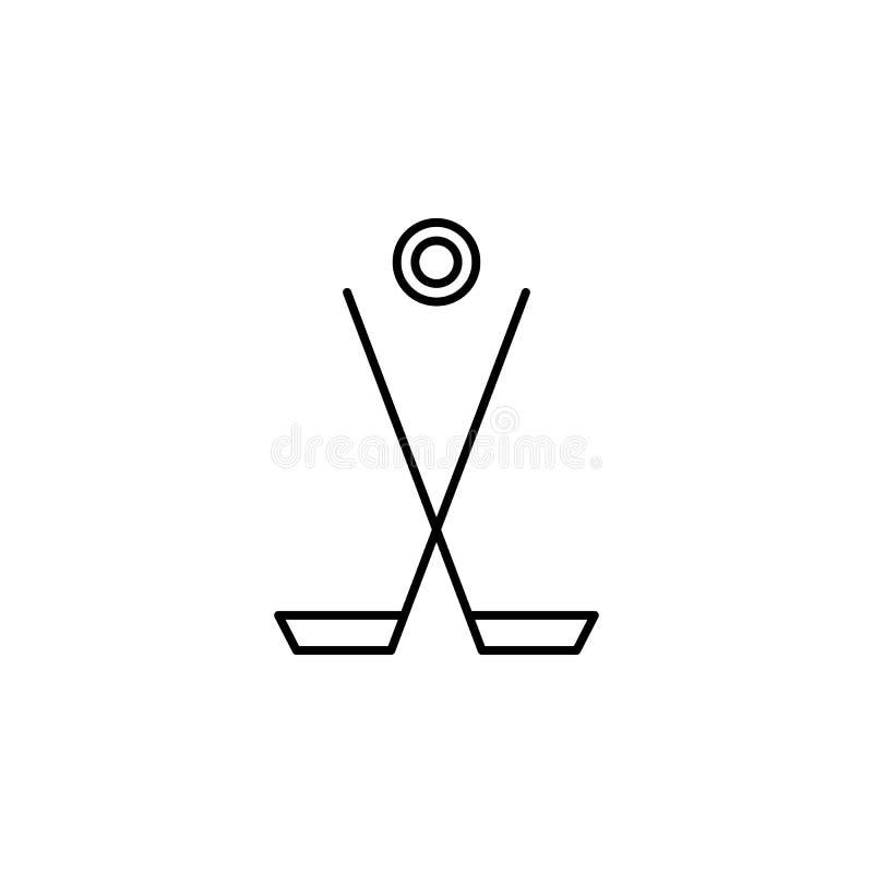 Palillo de hockey, icono del esquema del duende malicioso de hockey Elemento del ejemplo del deporte de invierno Las muestras y e libre illustration