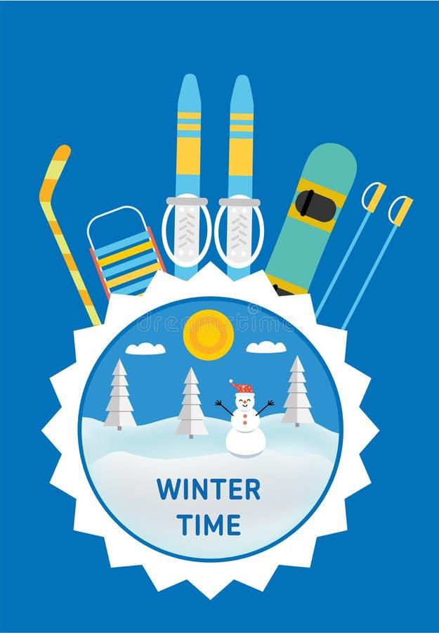 Palillo de hockey, trineo, esquí, snowboard - engranaje del invierno de los niños stock de ilustración
