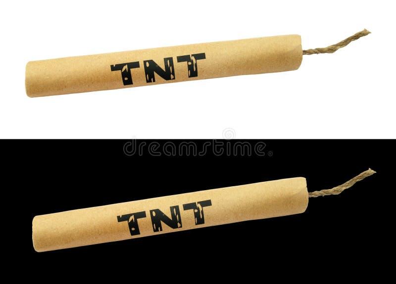 Palillo de la dinamita de TNT con el fieltro imágenes de archivo libres de regalías