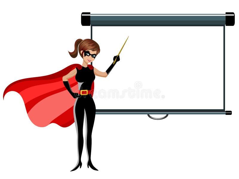 Palillo de la mujer del super héroe que enseña a la pantalla de proyector en blanco aislada stock de ilustración