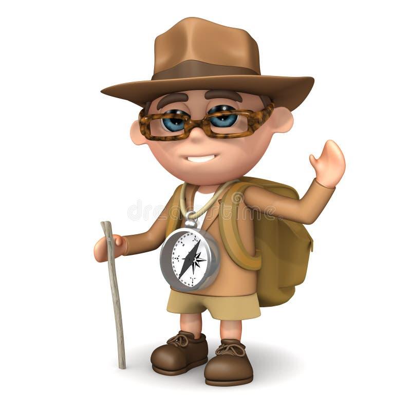 palillo del explorador 3d stock de ilustración