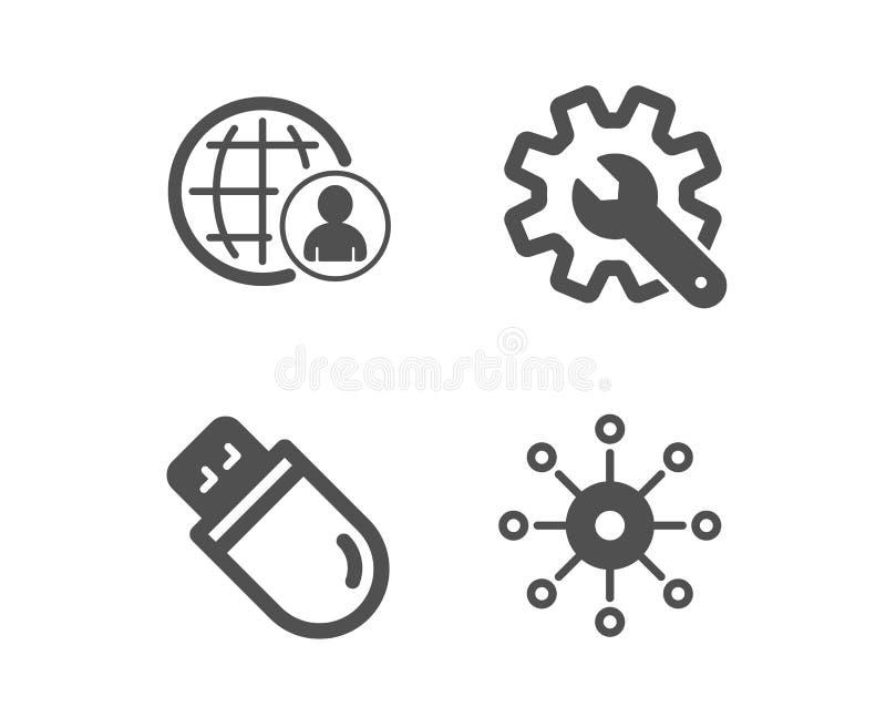 Palillo del Usb, arreglo para requisitos particulares e iconos internacionales del reclutamiento Muestra de varios canales Vector stock de ilustración