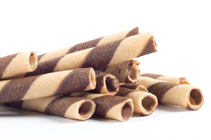 Palillo delicioso del rollo de la oblea del chocolate fotografía de archivo libre de regalías