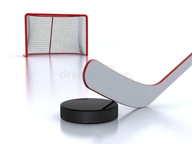 Palillo, duende malicioso y meta de hockey ilustración del vector