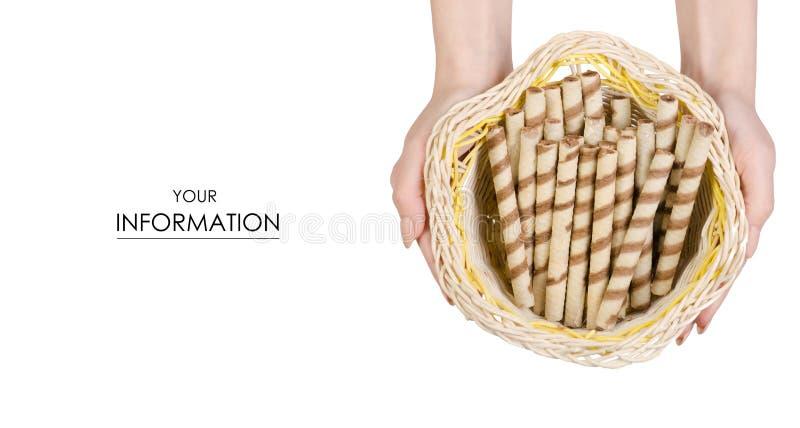 Palillo dulce de los tubos de la oblea delicioso en un modelo disponible de la cesta fotografía de archivo libre de regalías